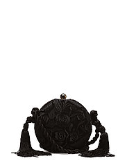 Tassel embroidered clutch - BLACK