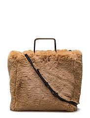 Metallic handle faux-fur bag - MEDIUM BROWN