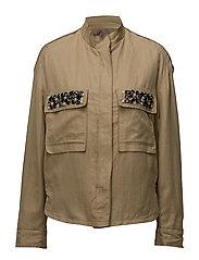 Faceted crystals linen-blend jacket - MEDIUM BROWN