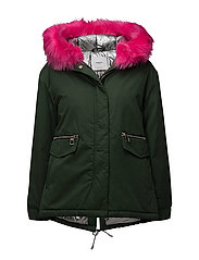 Contrast hooded parka - GREEN
