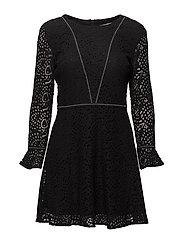 Stupped guipure dress - BLACK