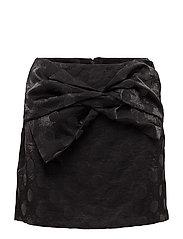 Polka-dot velvet skirt - BLACK