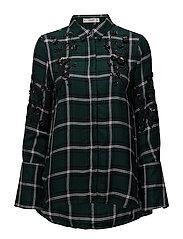 Embroidered detail shirt - DARK GREEN
