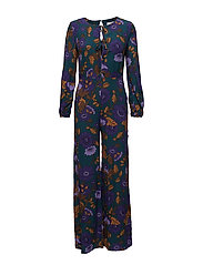Floral long jumpsuit - DARK BLUE