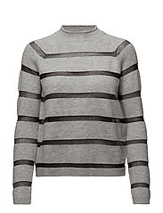 Striped panel sweater - GREY