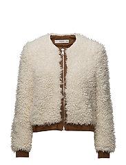 Faux shearling mixed jacket - LIGHT BEIGE