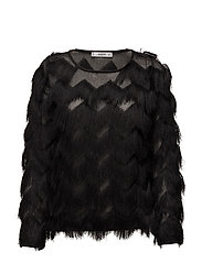 Fringed detail blouse - BLACK