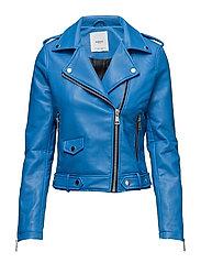 Appliqu biker jacket - MEDIUM BLUE