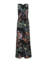 Floral print jumpsuit - BLACK