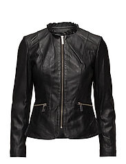 Ruffle neck leather jacket - BLACK