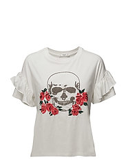 Skull embroidery t-shirt - WHITE