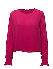 Buttoned flowy blouse - BRIGHT PINK
