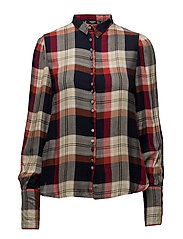 Check flowy shirt - NAVY