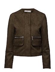 Suede effect jacket - BEIGE - KHAKI