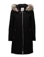Faux-fur appliqu wool coat - BLACK