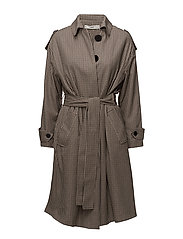 Houndstooth trench - BROWN