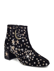 Stars embroidered ankle boots - BLACK