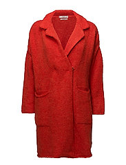 Mohair knit coat - BRIGHT RED