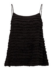 Fringed panel top - BLACK