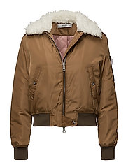 Faux shearling collar quilted jacket - MEDIUM BROWN
