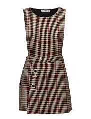 Houndstooth pinafore dress - BROWN
