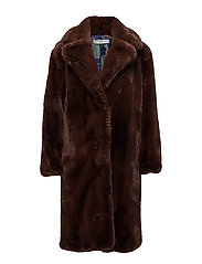Lapels faux fur coat - MEDIUM BROWN