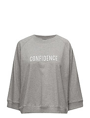 Cotton-blend message sweatshirt - MEDIUM GREY