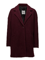 Unstructured wool-blend coat - DARK RED