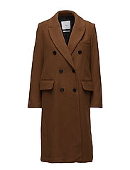 Lapels wool coat - DARK BROWN
