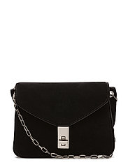 Chain suede bag - BLACK