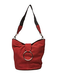 Leather hobo bag - RED