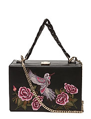 Embroidered coffer bag - BLACK