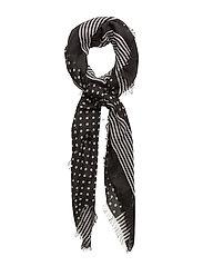 Contrasting print scarf - BLACK
