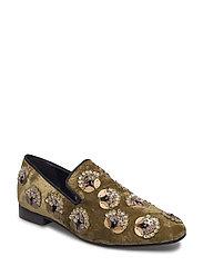 Appliqus velvet loafers - BEIGE - KHAKI