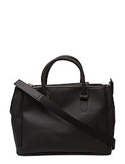 Saffiano-effect shopper bag - BLACK