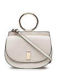 Metallic handle shoulder bag - LIGHT BEIGE