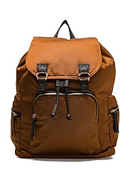 Satined backpack - MEDIUM BROWN