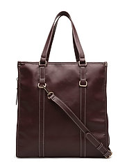 Contrast seam shopper bag - DARK RED