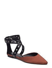 Ankle-cuff pointed toe shoes - MEDIUM BROWN