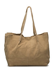 Leather shopper bag - LIGHT BEIGE