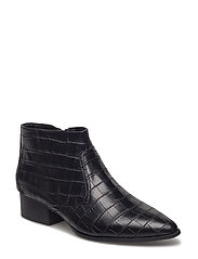 Croc-effect ankle boots - BLACK
