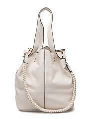 Pebbled bucket bag - LIGHT BEIGE