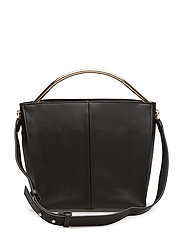 Metallic handle tote bag - BLACK