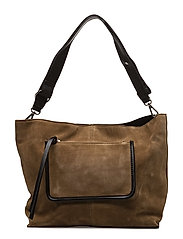 Leather pocket bag - BEIGE - KHAKI