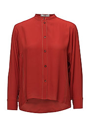 Contrast seam blouse - ORANGE