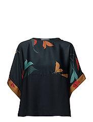 Combined printed T-shirt - MEDIUM BLUE
