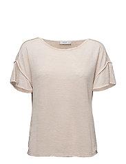 Ruffled sleeve t-shirt - LT PASTEL BROWN