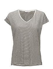 Striped linen-blend t-shirt - BLACK