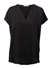 Satin blouse - BLACK