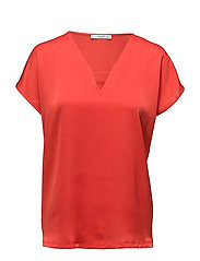 Satin blouse - BRIGHT RED